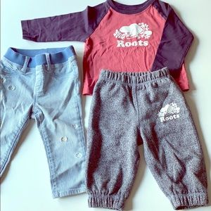 Roots kids raglan top and jersey pants 6-12months